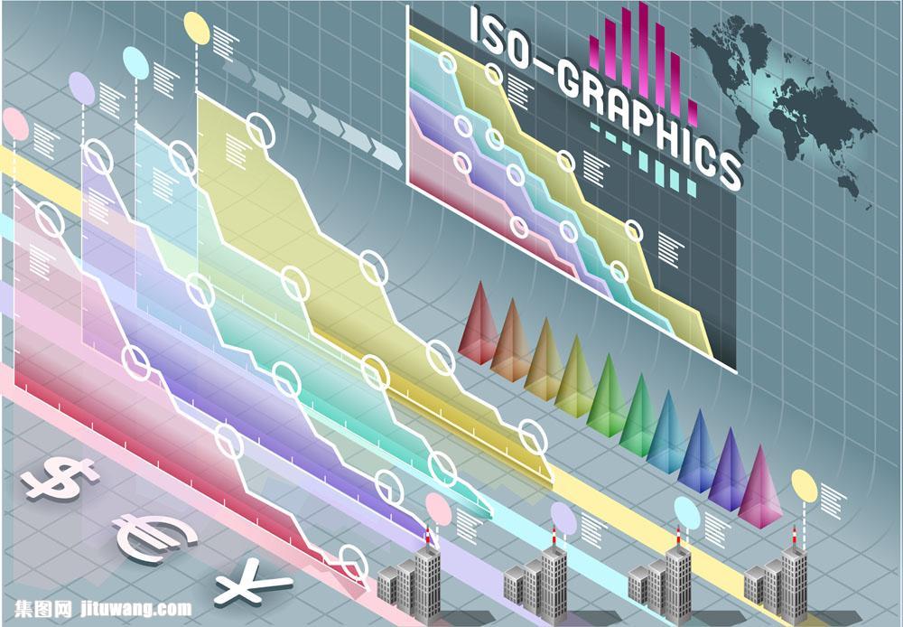 彩色金融信息图表