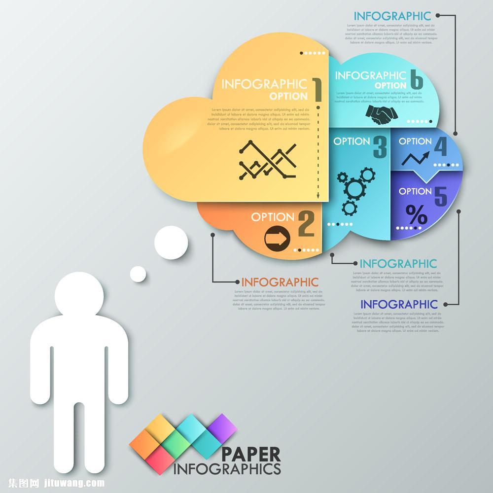 立体云形商务人物信息图表