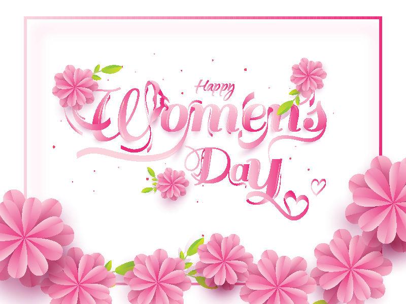 粉色立体花朵38女人节海报