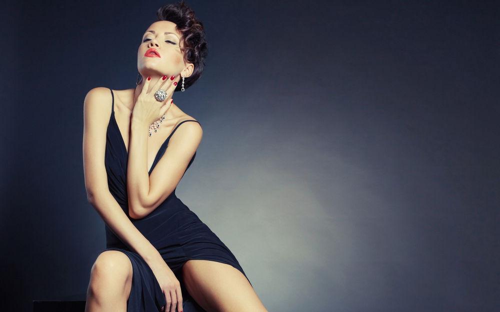 人,妇女,模型,连衣裙,黑发,闭着眼睛,简单的背景,项链,指甲,戒指5