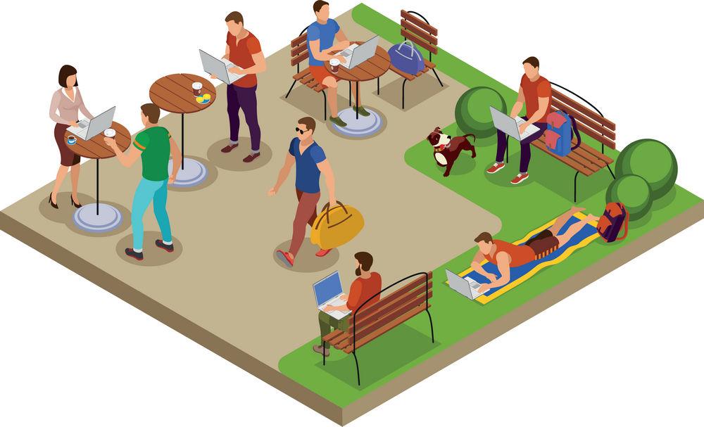 简约卡通人物休闲商务3D模拟场景设计矢量图